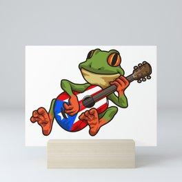 Coqui Frog Playing Guitar - Boricua Animal Mini Art Print