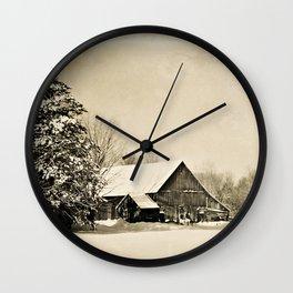 Winter Barn Wall Clock