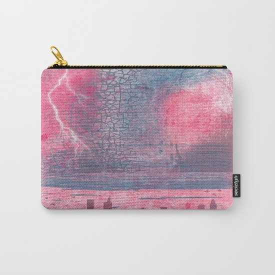 Town and the storm, pink, gray, blue Carry-All Pouch
