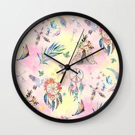 boho elements watercolor collage Wall Clock