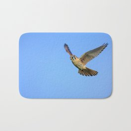 An American Kestrel Flying Looking For Prey in Nehalem, Oregon Bath Mat