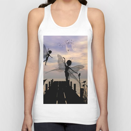 Cute fairy dancing on a jetty Unisex Tank Top