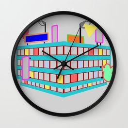 neon streets Wall Clock