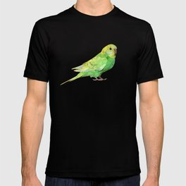 Geometric green parakeet T-shirt