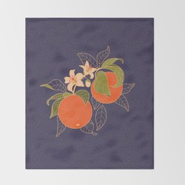 Orange Branch Throw Blanket
