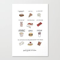 parks and rec Canvas Prints featuring Foods of Parks and Rec by Tyler Feder