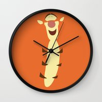 winnie the pooh Wall Clocks featuring Winnie the Pooh - Tigger by TracingHorses