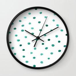 Green Brushstroke Watercolor Confetti Polka Dots Wall Clock