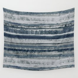 Expressive Indigo Watercolor Stripe Wall Tapestry