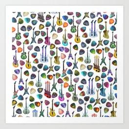 Rainbow Picks and Guitars Art Print