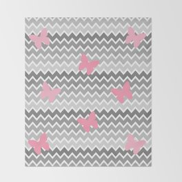 Grey Gray Ombre Chevron with Pink Butterflies Throw Blanket