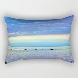 Saturated Sunset over the Circle of Rocks Rectangular Pillow