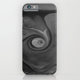 Heart by Lu, black-and-white iPhone Case