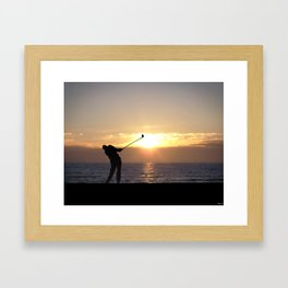 Playing Golf At Sunset Framed Art Print