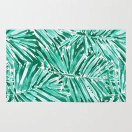 ON VACAY Green Palm Leaves Rug