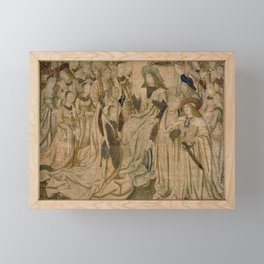 Brussels Manufactory - Tapestry with Esther presented to Ahasuerus (1490 - 1510) Framed Mini Art Print