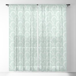 Pale Mint Green Overlapping Circles Sheer Curtain