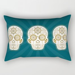 Día de Muertos Calavera • Mexican Sugar Skull – Teal & Bronze Palette Rectangular Pillow
