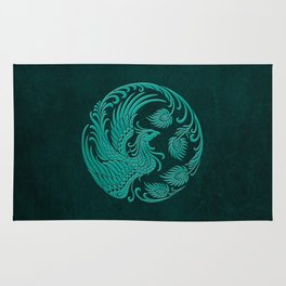 Traditional Teal Blue Chinese Phoenix Circle Rug