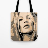 kate moss Tote Bags featuring KATE MOSS by Christophe Chiozzi