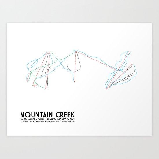 Mountain Creek, NJ - Minimalist Trail Art Art Print