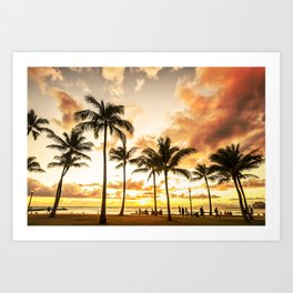Typical Picturesque Waikiki Beach Sunset Art Print