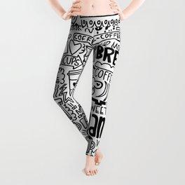 Coffee Lovers Hand-drawn Illustration Leggings
