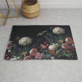 Dutch dark Dramatic Floral arrangement Rug