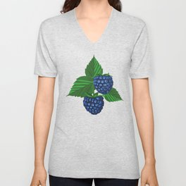 Blackberry on dark blue background Unisex V-Neck