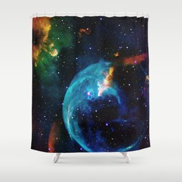 Blue Bubble Shower Curtain