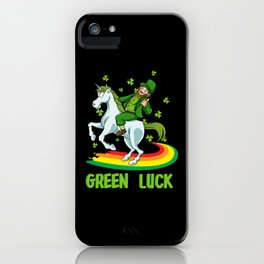Leprechaun Rides A Unicorn On A Rainbow iPhone Case