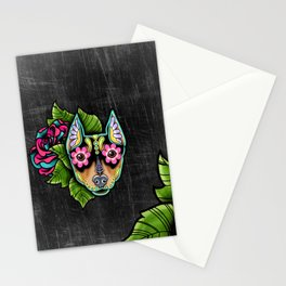 Min Pin Day of the Dead Miniature Doberman Pinscher Sugar Skull Dog Stationery Cards