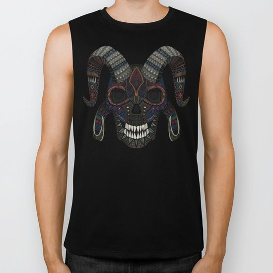 demon skull charcoal Biker Tank