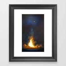 Bonfire at the Drift Framed Art Print