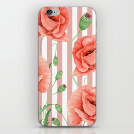Poppies Dusty Pink Stripes iPhone Skin