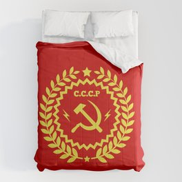 Communist Hammer & Sickle CCCP Badge Design Comforters