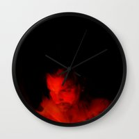 devil Wall Clocks featuring Devil by Azure Cricket