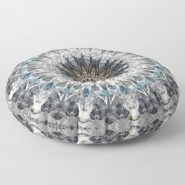 Gray, blue Mandala Floor Pillow