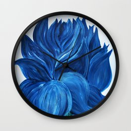 Welcome Spring : Blue Lotus Flower Wall Clock