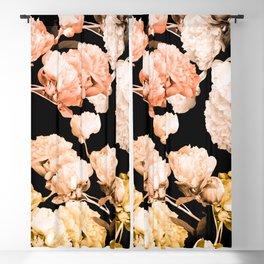 Beautiful Peony Flowers Pastel Colors Black Background #decor #society6 #buyart Blackout Curtain