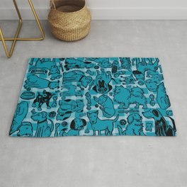 Pup Party in Teal Gingham Rug