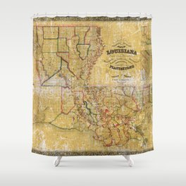 La Tourrette's Map of Louisiana (1848) Shower Curtain