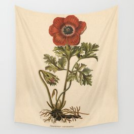 1800s Encyclopedia Lithograph of Anemone Flower Wall Tapestry