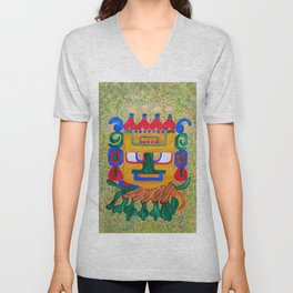 A Mayan Mask found deep in the jungles of Mexico Unisex V-Neck