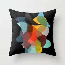COLORED ENCOUNTERS BLACK Throw Pillow