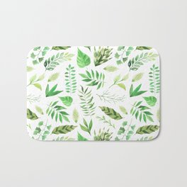 Watercolor Botanicals Leaves Greenery Bath Mat