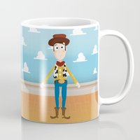 woody Mugs featuring Woody by Clau Calderon