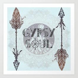 Gypsy Soul - Boho Mountains Tribal Arrows Hippy Mandala Art Print