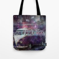 volkswagon Tote Bags featuring Night time Camper by yairi