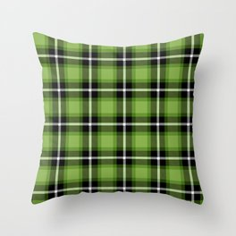 Greenery green color themed plaid SCOTTISH TARTAN Checkered Fabric Pattern background. Throw Pillow